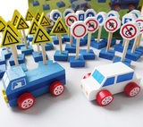 Kindergarten traffic signs safety signs road signs children 3-6 middle class educational toys with the scene map