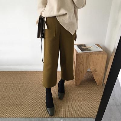 小宜定制YESWOMEN 冬季韩版毛呢料chic阔腿裤显瘦直筒九分裤西裤