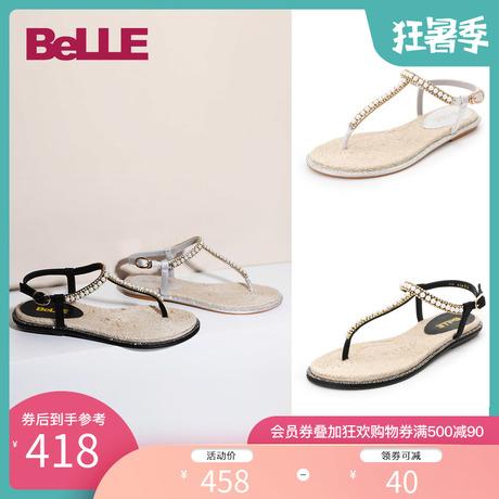 百丽人字拖凉鞋女2019夏新商场同款女凉鞋BZ634BL9商品大图