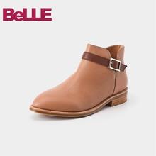 Belle/百丽2018冬商场新小牛皮撞色皮带装饰女及踝靴BPB59DD8