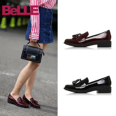 Belle/百丽春夏牛皮英伦女鞋漆皮流苏平底女单鞋皮鞋BLTD3CM7