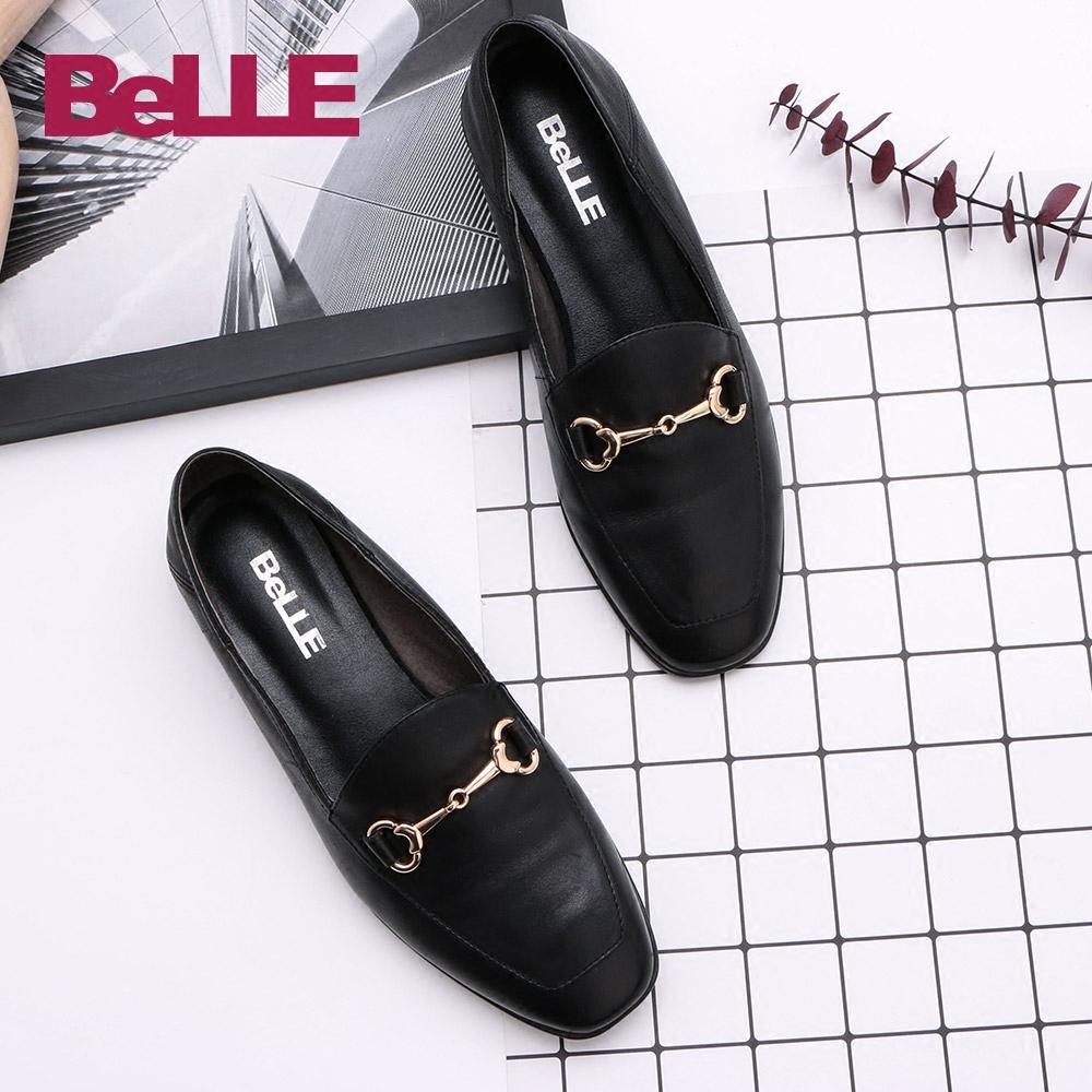 【淘宝预售】百丽女鞋专柜同款英伦风乐福鞋羊皮平底单鞋BLNA1AM7