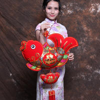 2019 New Year Chinese New Year Decorations Chinese knot fish pendant Festival ornaments New Year's pig year living room more than a year