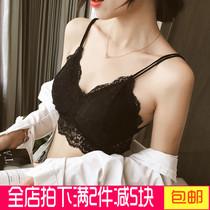 新款蕾丝美背镂空双肩带性感裹胸带胸垫打底防走光短款女抹胸内衣