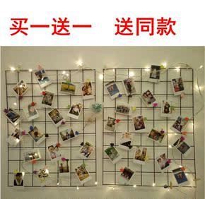 创意铁艺网格照片墙装饰 定制拍照背景墙客厅卧室壁饰挂件