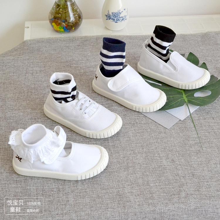 幼儿园鞋儿童帆布鞋秋款白布鞋男童女童白球鞋板鞋软底室内小白鞋