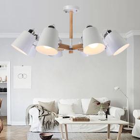 LED北欧宜家客厅吊灯实木创意餐厅灯日式简约书房卧室原木艺灯具