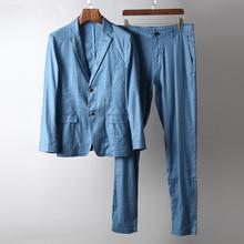 高端气质春夏透气薄款棉麻西服韩版修身纯色商务休闲西装外套 男