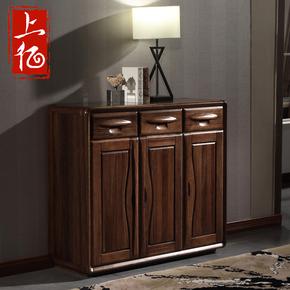 上亿 全实木鞋柜黑胡桃木现代中式纯实木储物柜三门鞋柜收纳柜