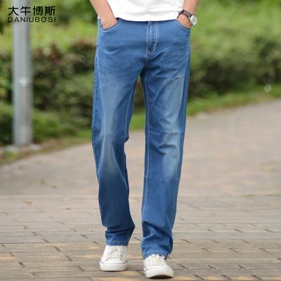 大牛博斯超薄牛仔裤男直筒宽松大码夏季薄款透气弹力浅色男士裤子
