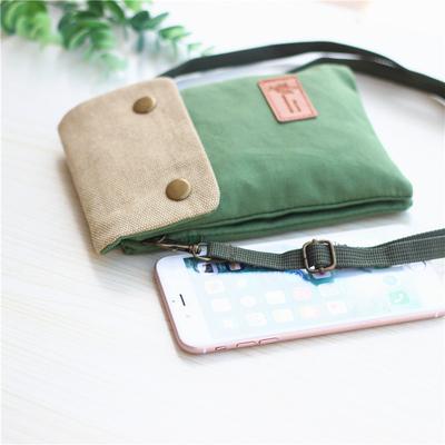 简约手机斜挎包女士手机挎包迷你帆布斜跨手机包放装手机袋子布袋