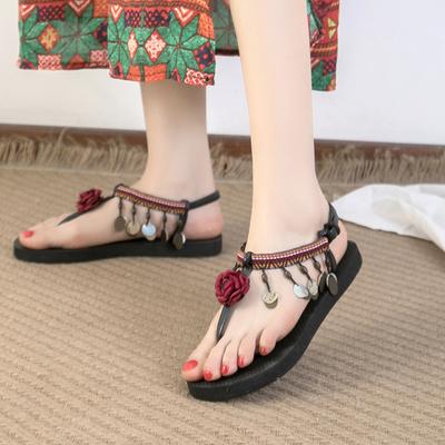波西米亚凉鞋女夏季平底百搭时尚仙女鞋2019新款民族风度假沙滩鞋