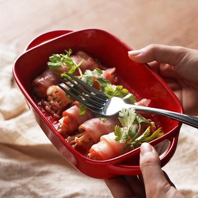 陶瓷焗饭盘 家用创意双耳烤盘长方形西餐盘子欧式烘焙烤箱芝士盘