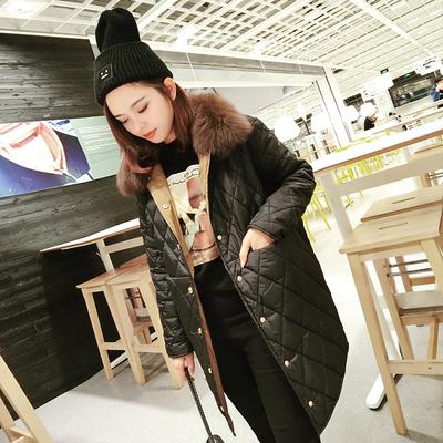 欧洲站棉服女中长款2017新款毛领百搭冬季外套韩版轻薄羽绒棉袄衣