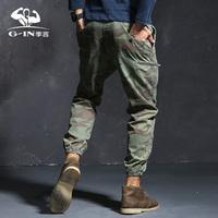 季言个性后口袋迷彩裤男小脚裤纯棉 休闲户外运动军装军裤束脚裤