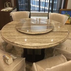 大理石面圆餐桌黑檀钢琴烤漆餐台简约现代饭桌带转盘圆形饭台定制
