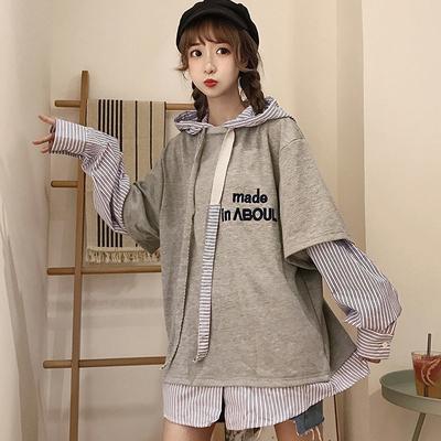秋季女装韩版ins时尚假两件连帽套头卫衣中长款oversize长袖上衣