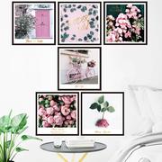 墙贴少女心粉色玫瑰ins宿舍装饰画浪漫墙纸贴画客厅卧室床头温馨