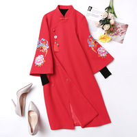 Improved cheongsam women's autumn and winter coats Chinese style retro Chinese national style 甄嬛 Tang suit Hanfu women's dress