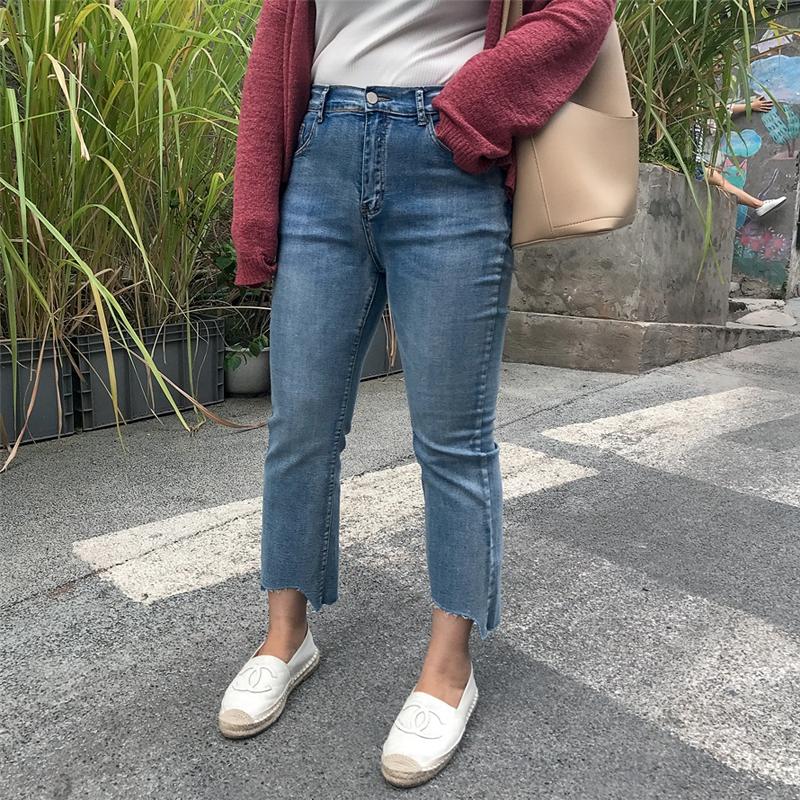 大码直筒牛仔裤女韩版显瘦2019新款200斤胖妹妹修身不规则九分裤