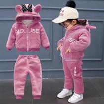 女童金丝绒套装0小童洋气冬装1韩版2女宝宝秋装春秋卫衣3岁婴儿潮