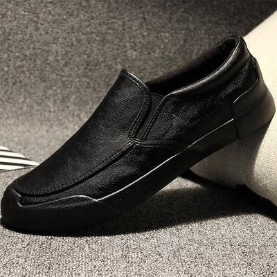 男鞋冬季男士休闲皮鞋懒人一脚蹬韩版百搭潮流棉鞋加绒春季潮鞋子