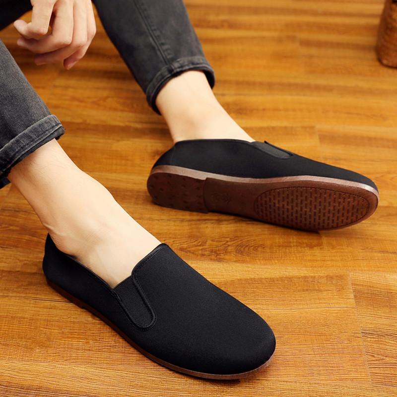中国风老北京男鞋复古传统中式休闲鞋透气软底老头鞋功夫鞋黑布鞋