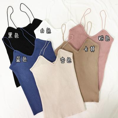 2017韩版夏季V领细吊带竖条纹针织打底衫女百搭修身背心潮学生