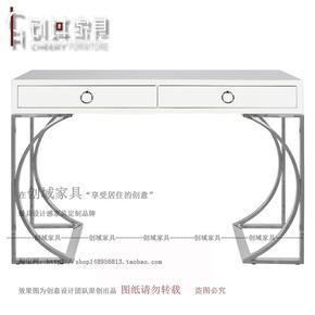简约现代书桌烤漆家用电脑桌经济型创意不锈钢脚写字台时尚书桌子
