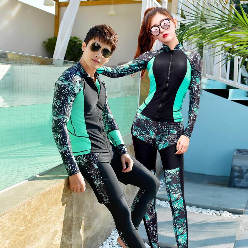 潜水服女男情侣分体长裤连体长袖水母衣防晒冲浪浮潜套装潜水衣