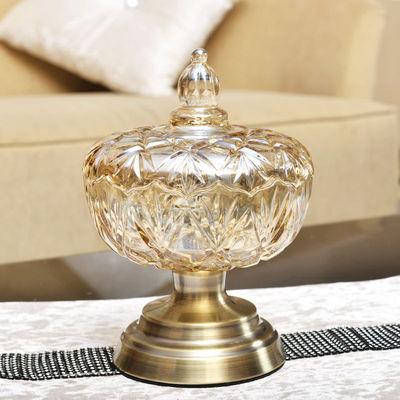 欧式现代玻璃糖果罐装饰品 客厅茶几创意高脚加厚水晶玻璃干果罐价格