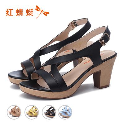 红蜻蜓女凉鞋夏季2017新款粗跟防水台高跟鞋交叉式扣带真皮女凉鞋