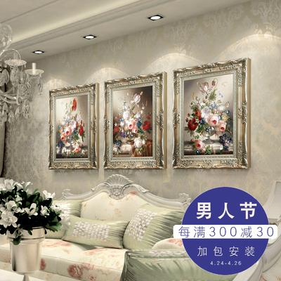 沙发背景墙挂油画