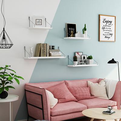 墙上置物架免打孔墙壁挂墙隔板电视墙面装饰铁艺架子客厅壁挂书架