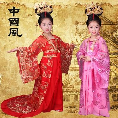 儿童古装 唐朝小公主 小贵妃子 汉服拖尾舞台走秀演出服 小仙女装