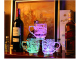 Vibrating sound with the same acrylic water poured on the bright sensory colorful glowing cup will flash wine glass gift funny cup