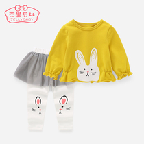 女宝宝洋气套装1-3童装婴儿衣服两件套加绒2018新款6一岁女童秋装
