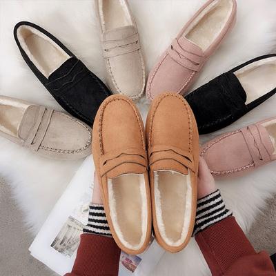 豆豆鞋女2018新款韩版百搭平底单鞋软底加绒棉鞋舒适孕妇懒人妈妈