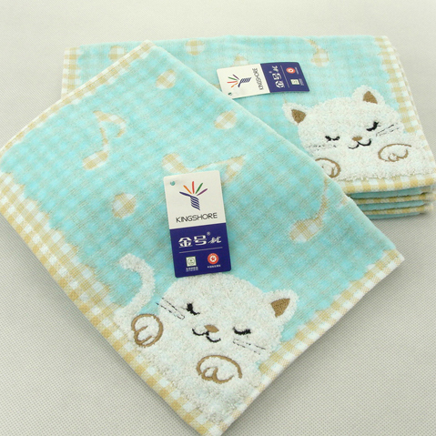 金号 towel baby delicate cat lattice double layer small towel children's day gift