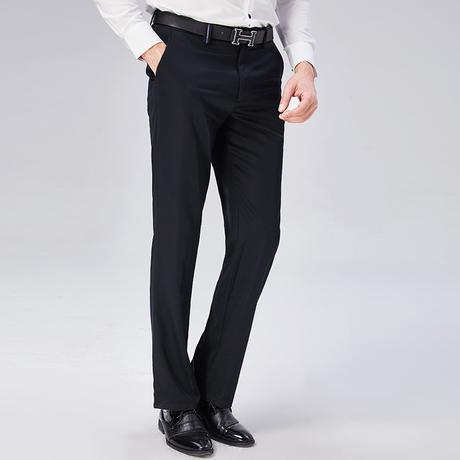 Youngor/雅戈尔男士商务休闲裤子男宽松直筒长裤子职业黑色中腰裤商品大图