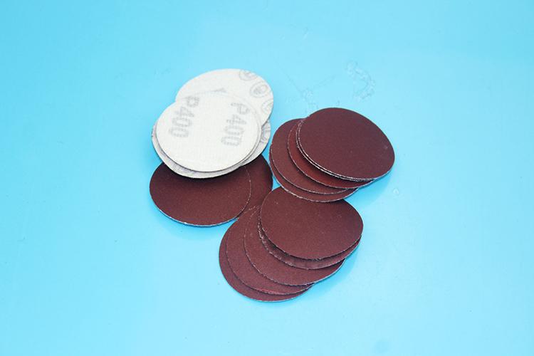 2寸植绒红砂纸片50mm圆盘砂纸背绒片红色拉绒片干磨砂纸80-7000目