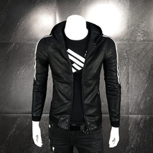Autumn and Winter New PU Leather Jacket, Men's Slim Jacket, Young Korean Edition Fashion Hat, Leisure Black Jacket for Men