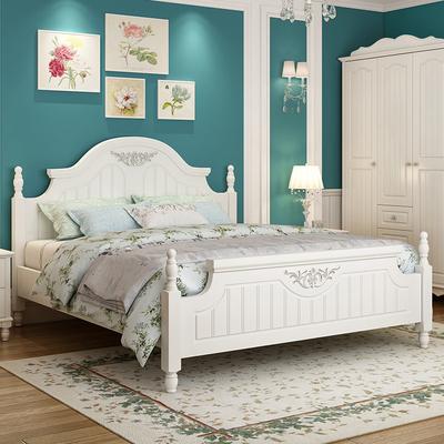 韩式床田园床高箱储物床公主床双人床白色欧式床板式床主卧家具新品特惠