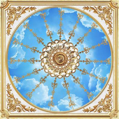 欧式简约客厅卧室圆形天花板吊顶墙纸壁纸蓝天白云5d立体大型壁画最新最全资讯
