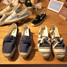SOLUDOS counter genuine Lefu grass knitted bowknot fisherman hemp-soled canvas flat-soled summer shoes - purchased on behalf of the United States