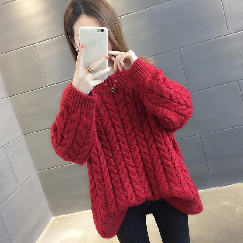 2019春装新款很仙的网红超火cec毛衣女洋气百搭红色韩版宽松打底