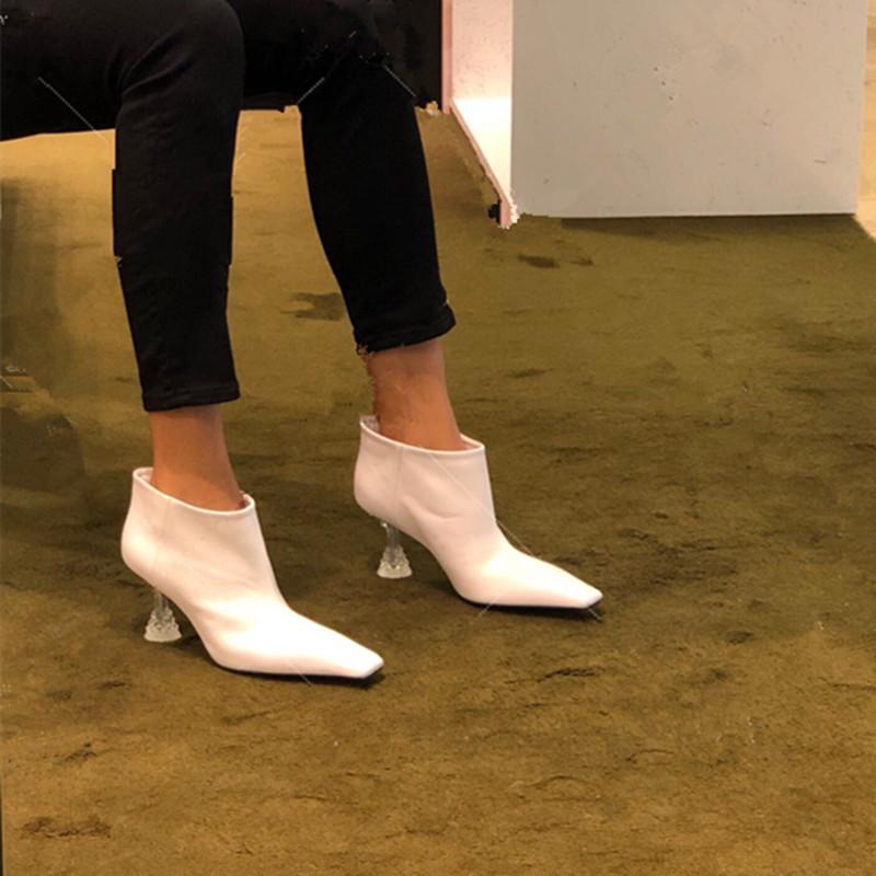 网红同款靴子小方头高跟白色短靴水晶跟及裸靴真皮短筒马丁靴潮