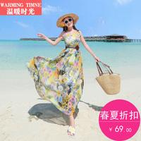 温暖时光 沙滩裙海边度假新款夏女泰国长裙波西米亚连衣裙