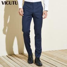 休闲百搭蓝色纯羊毛正装 威可多男套西裤 西裤 商务修身 VICUTU