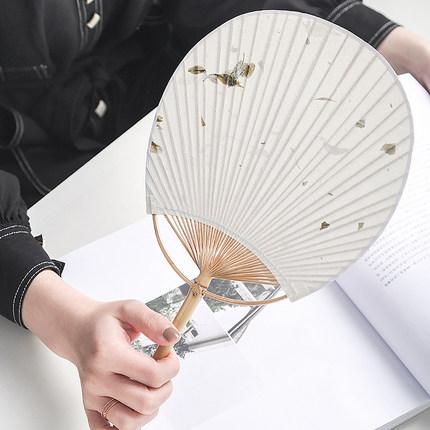 广告扇日式和风团扇空白宣纸扇子中国风古典棉布扇手工扇夏季扇
